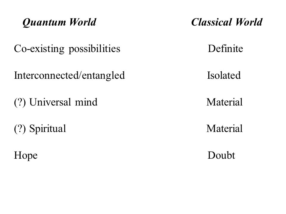 Quantum World Classical World