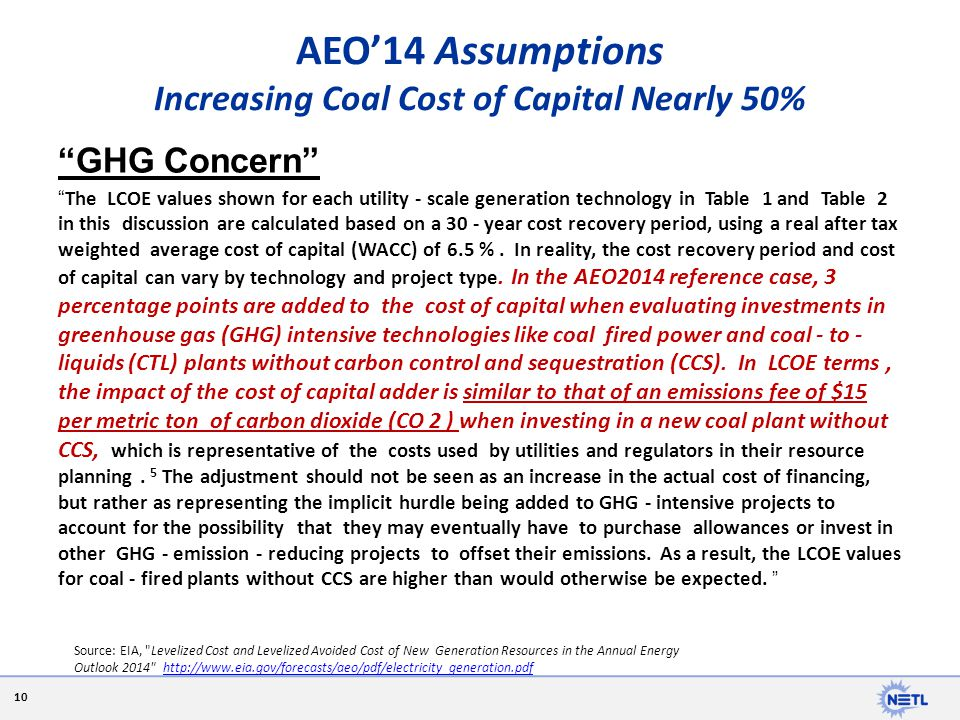 AEO'14 Assumptions Increasing Coal Cost of Capital Nearly 50%