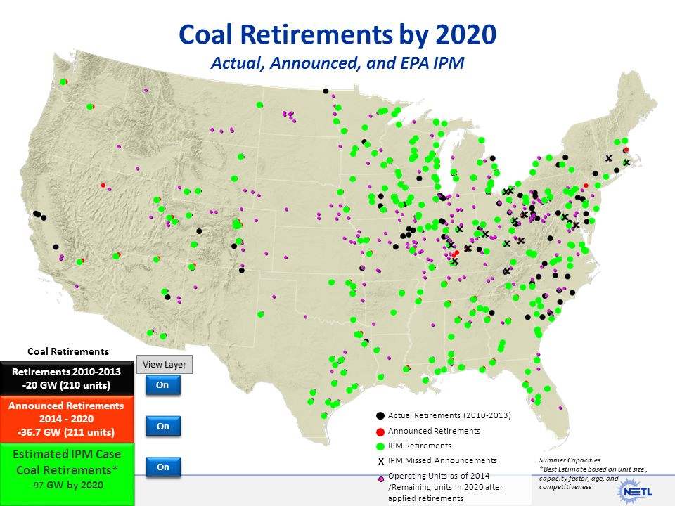 Coal Retirements by 2020 Actual, Announced, and EPA IPM