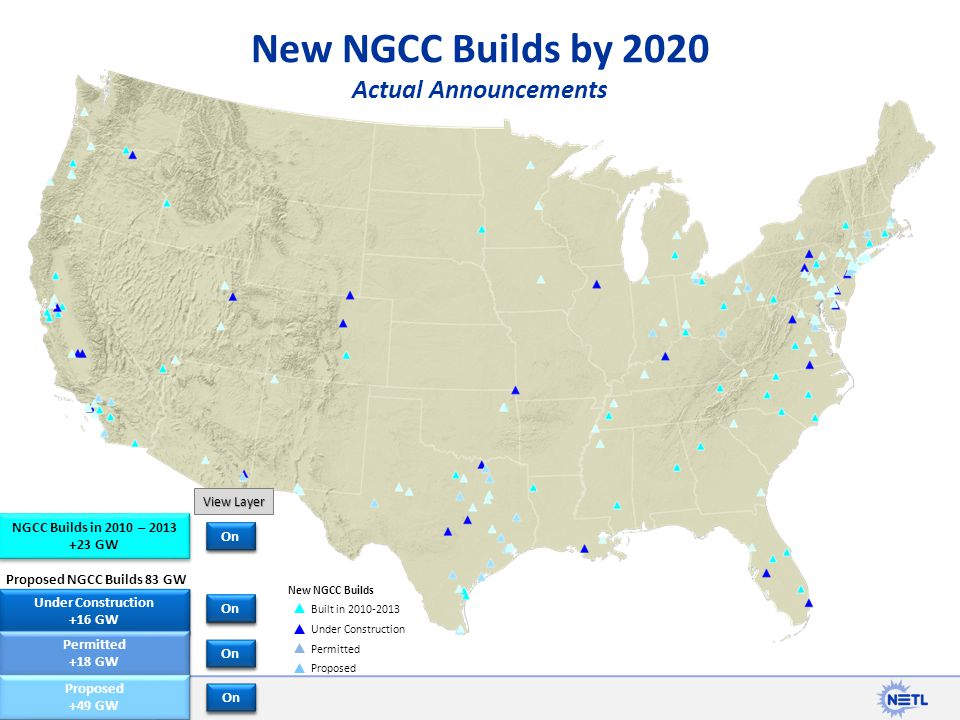 New NGCC Builds by 2020 Actual Announcements