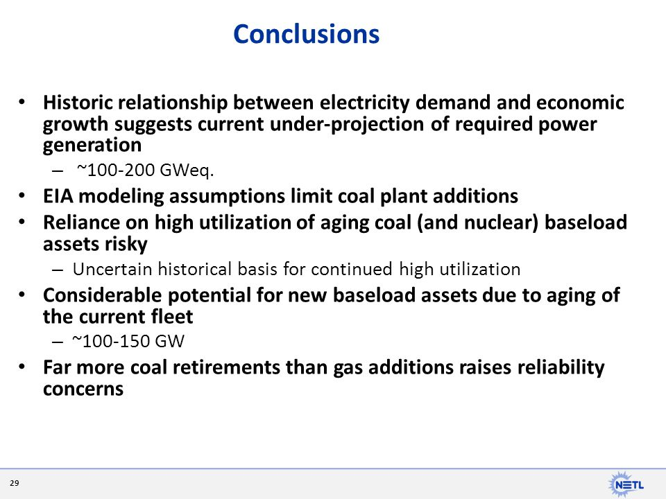 Conclusions Historic relationship between electricity demand and economic growth suggests current under-projection of required power generation.