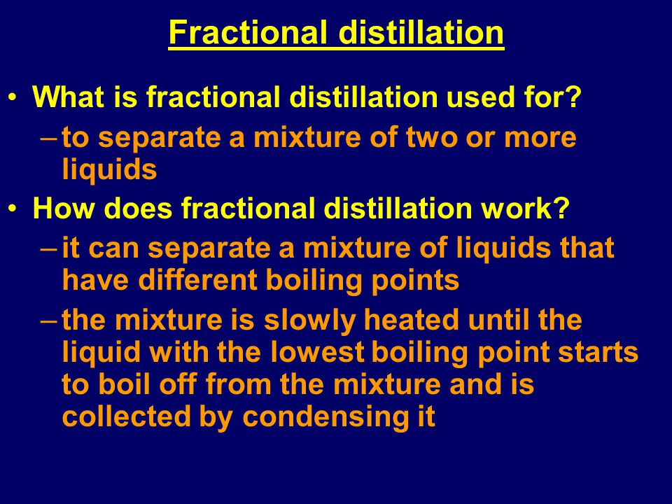 fractional distillation of a binary liquid mixture An unknown binary liquid mixture will be purified by simple and fractional distillation as a comparison of the technique's effectiveness success will be measured by the accuracy of the binary mixture identification and percent composition.