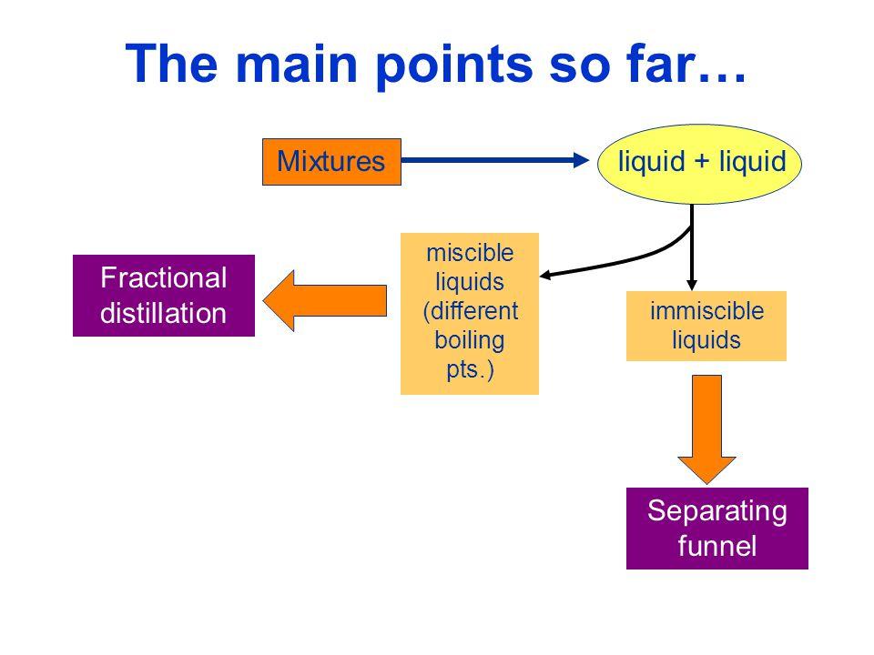 The main points so far… liquid + liquid Mixtures