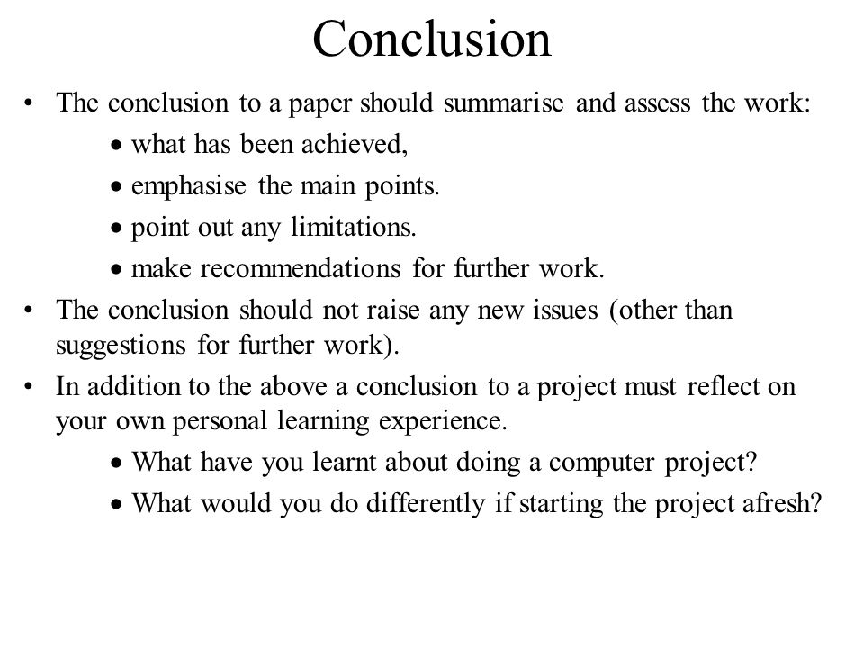Sample Conclusions