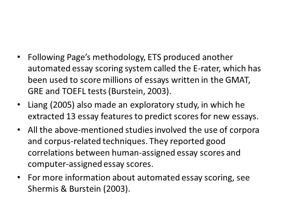 automated essay grading techniques The students' essays are evaluated both by human and web based automated essay grading system  automated essay  machine learning techniques and.
