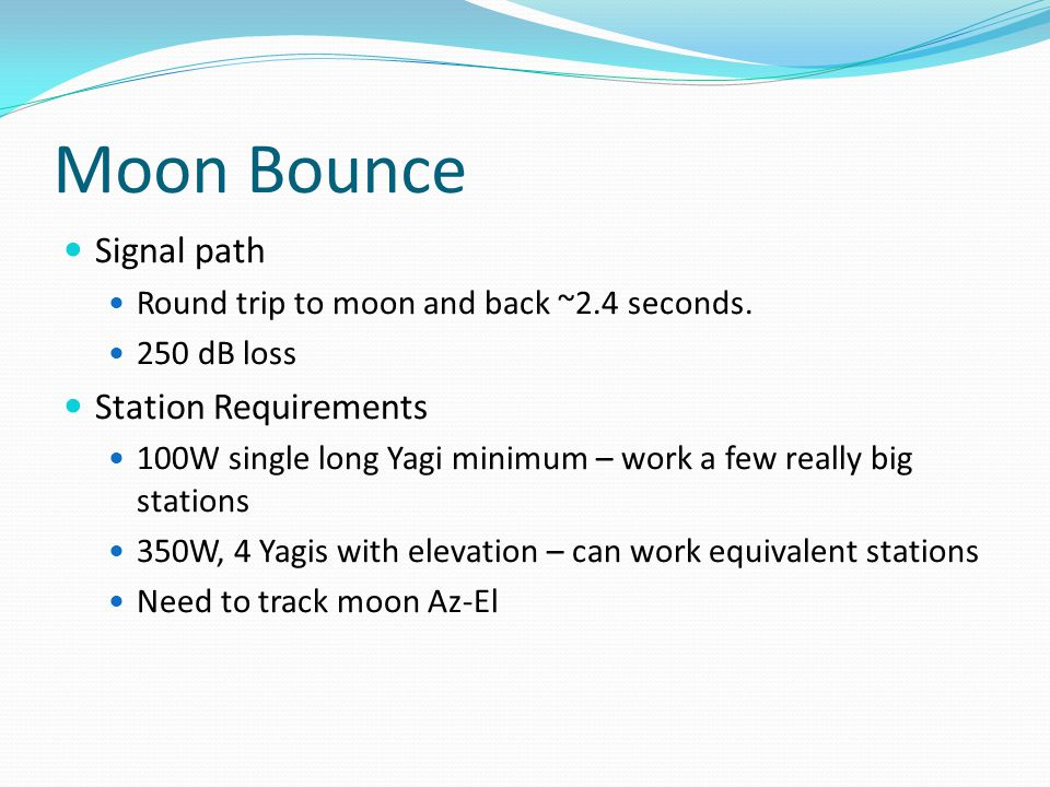 Moon Bounce Signal path Station Requirements