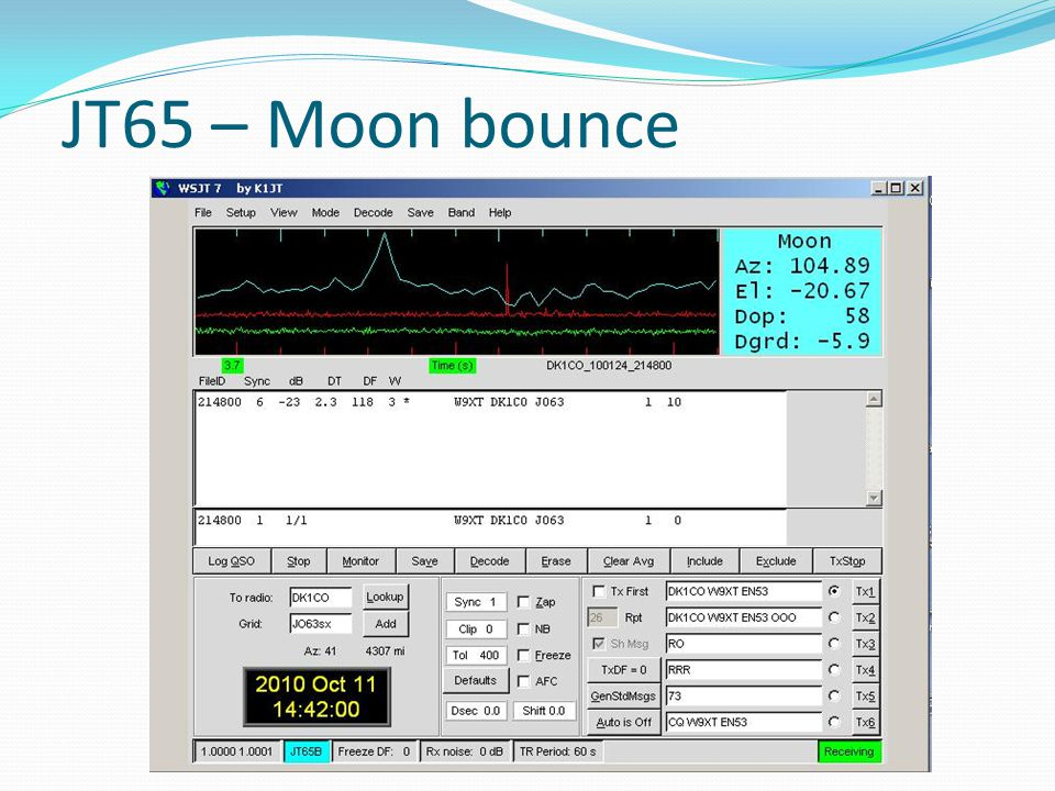 JT65 – Moon bounce Blue line is the time difference – know it is off the moon. Red line is the sync line – nice narrow spike is good.