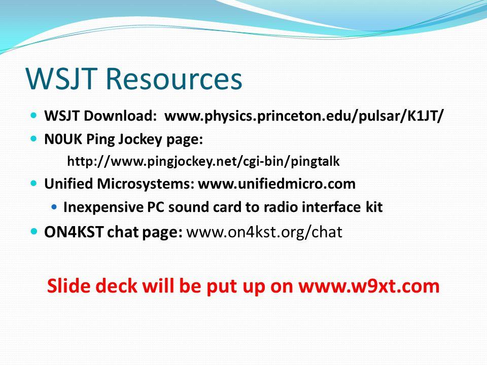 Slide deck will be put up on www.w9xt.com