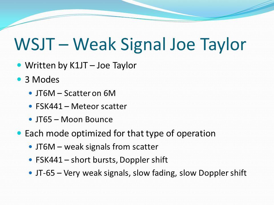 WSJT – Weak Signal Joe Taylor