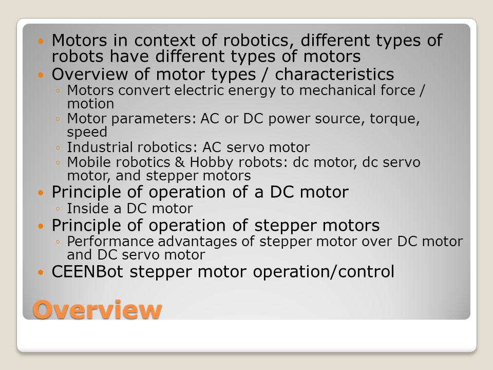 Dc motor and ac motor difference for Types of motors used in robotics pdf