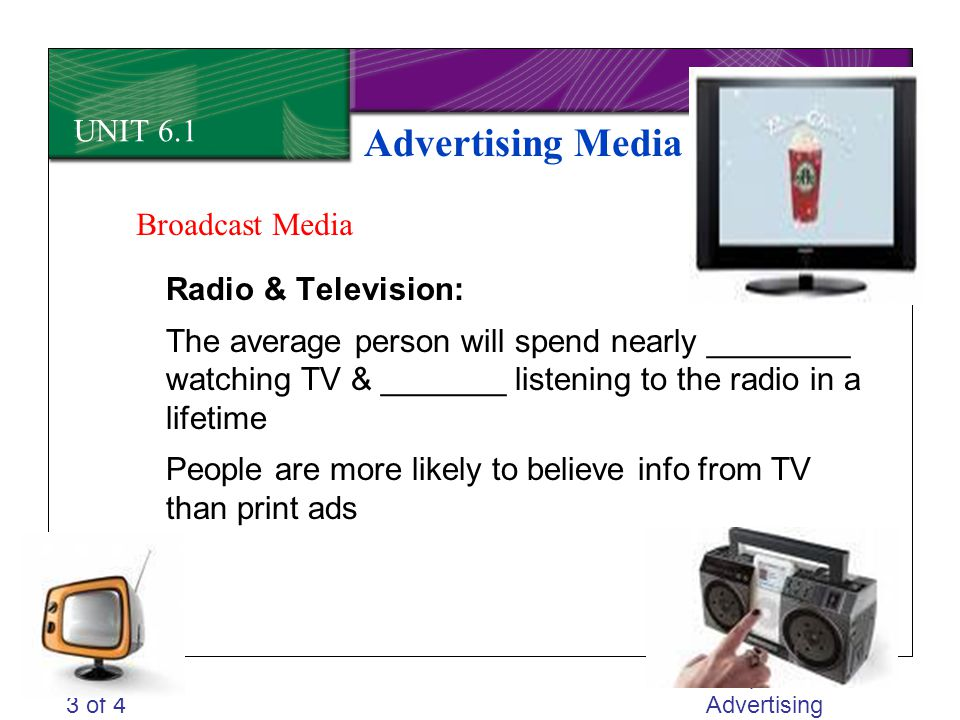 Advertising Media UNIT 6.1 Broadcast Media Radio & Television: