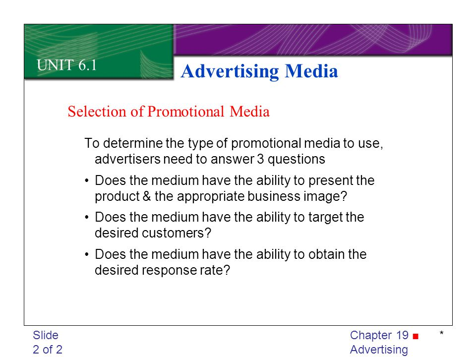 Advertising Media UNIT 6.1 Selection of Promotional Media
