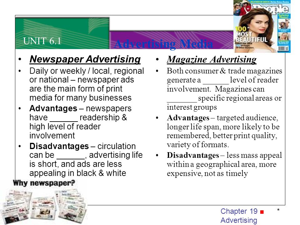 Advertising Media UNIT 6.1 Newspaper Advertising Magazine Advertising