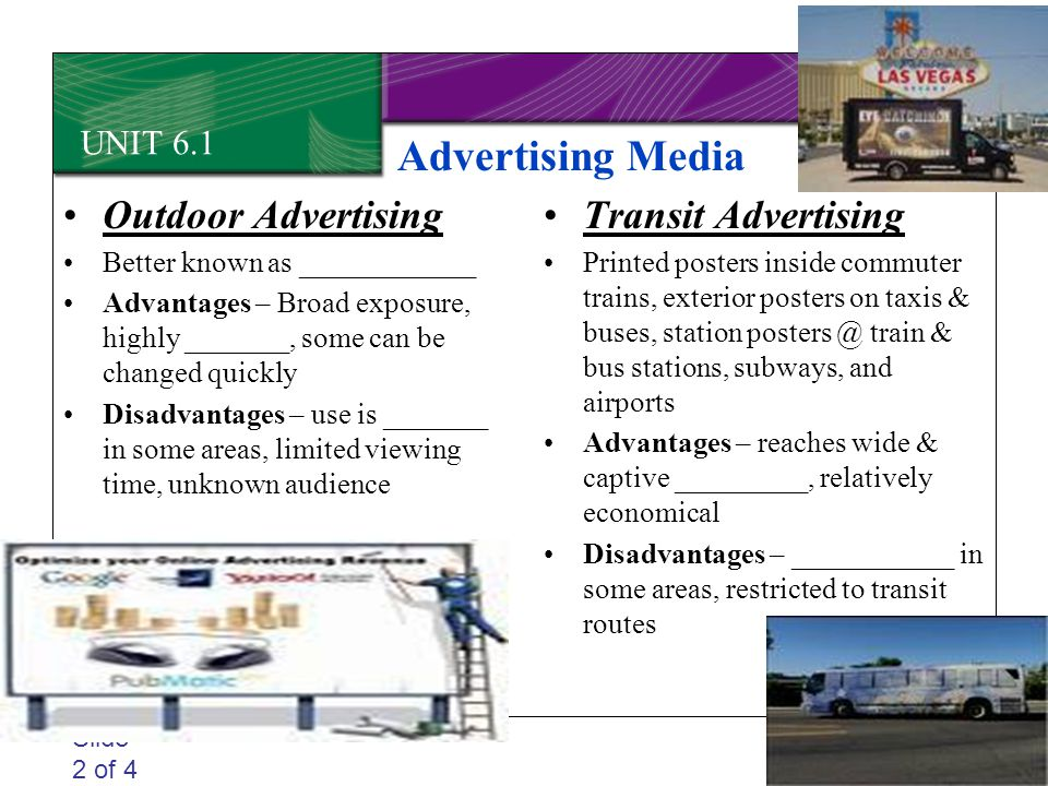Advertising Media Outdoor Advertising Transit Advertising UNIT 6.1