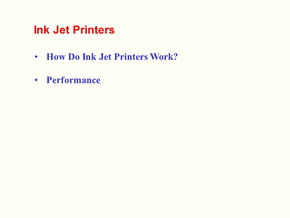 how ink jet printers work essay How inkjet nozzles work how does the ink get onto the page it's a slightly different process in a bubble jet and an inkjet bubble jets in canon bubble jet printers, it goes a bit like this.