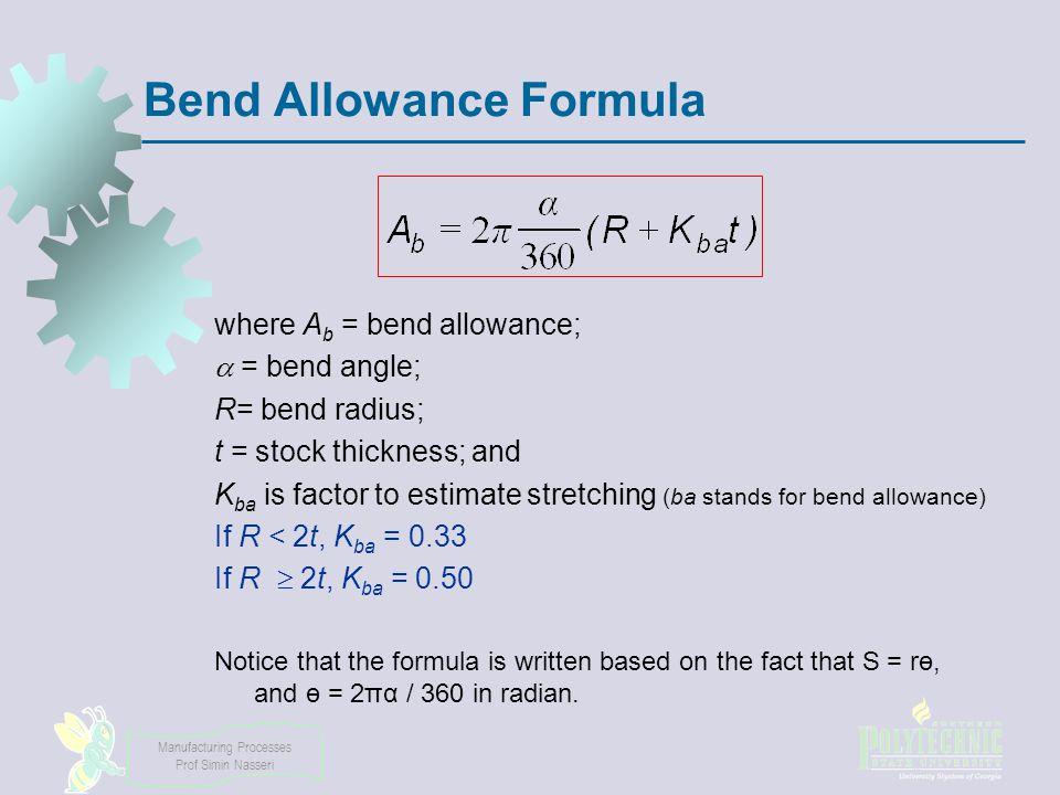 sheet metal bending formula pdf