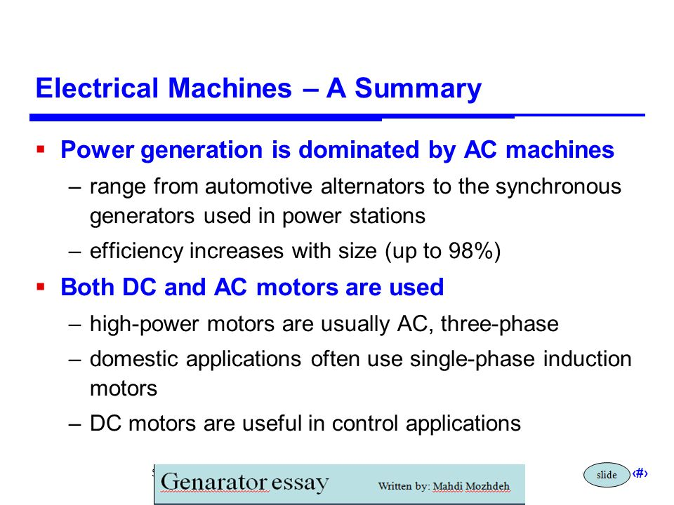 Electrical Machines – A Summary