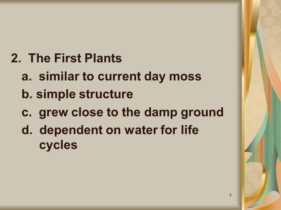 2. The First Plants a. similar to current day moss. b. simple structure. c. grew close to the damp ground.
