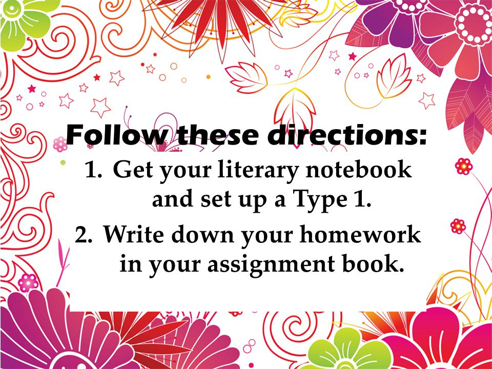 Follow these directions: