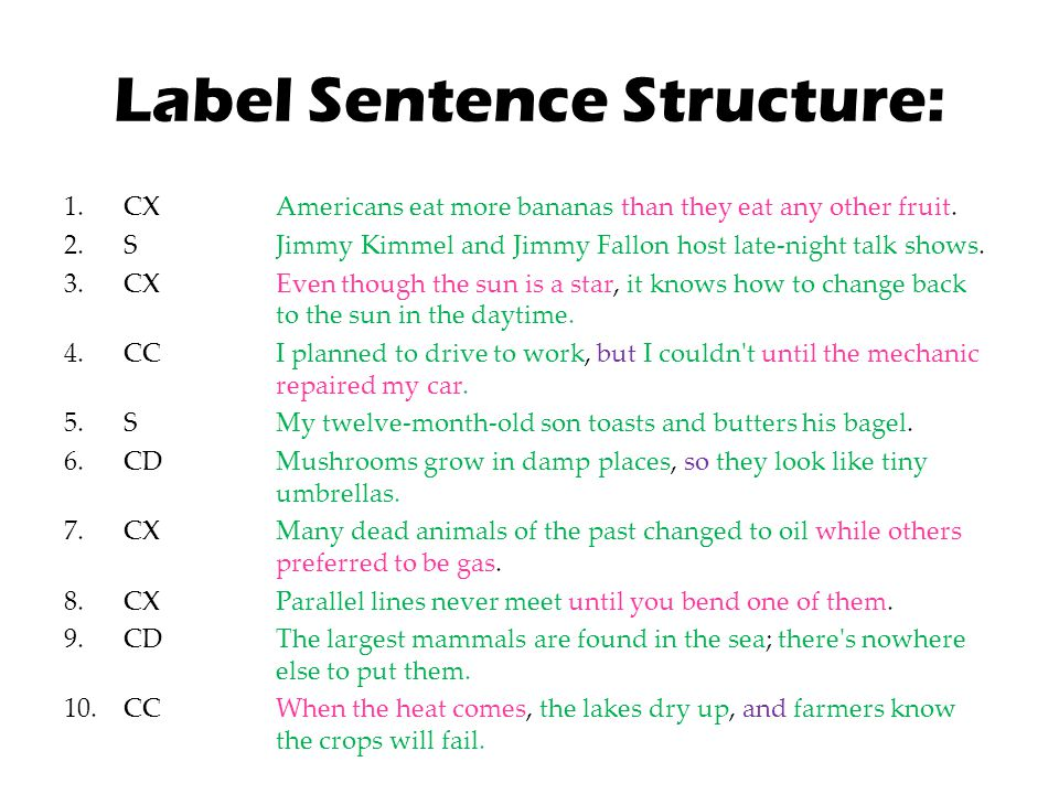 Label Sentence Structure: