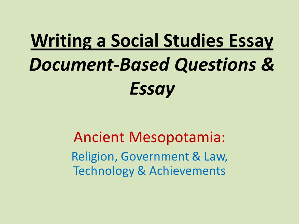 document based essay questioins This piece was written by anne vilen, el education staff writer & school coach and originally published in the october 27th issue of ascd express' ideas from the field newsletter document-based questions (dbqs) are the meat and potatoes of high school history classes and ap courses these essay.