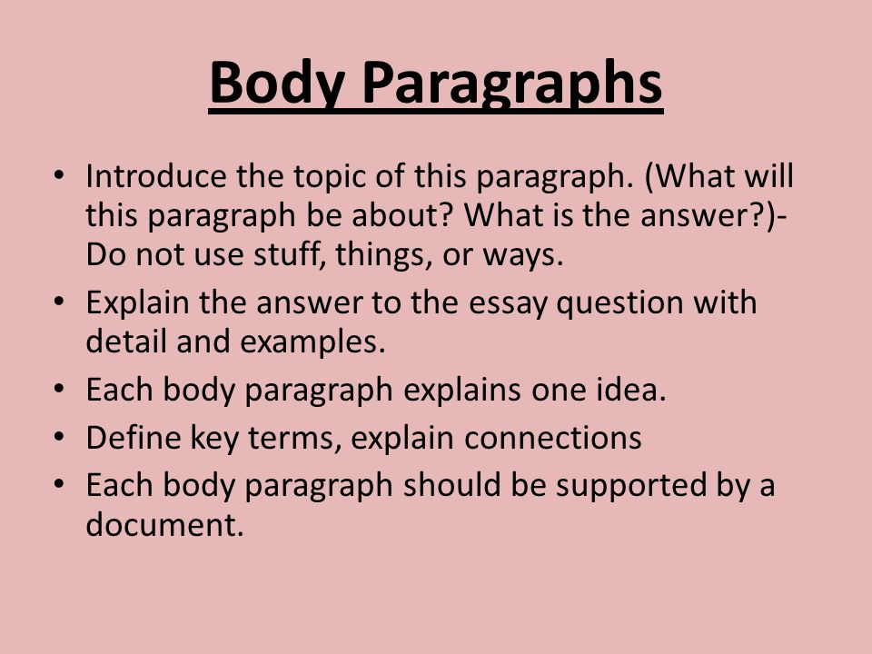 how to write a paragraph to answer a question