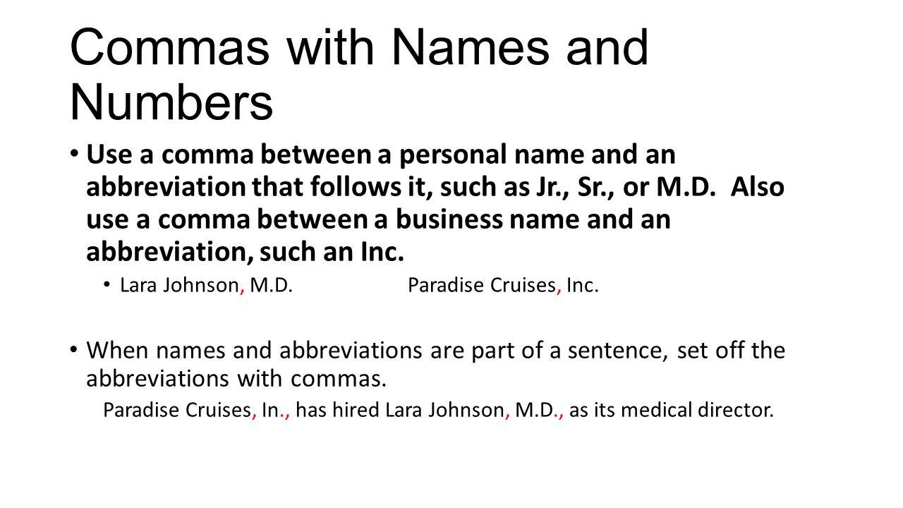Medical abbreviation for between - 27 Commas