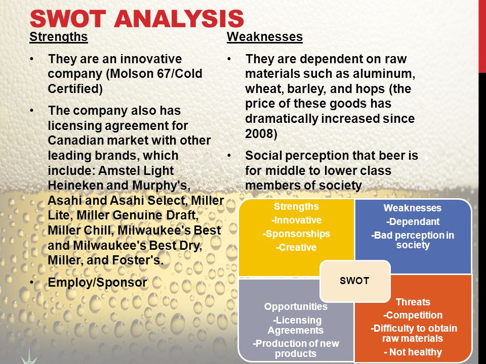 Swot analysis bud light wheat