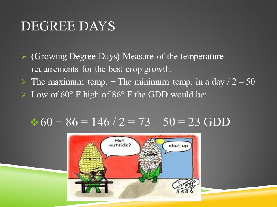 Degree days (Growing Degree Days) Measure of the temperature requirements for the best crop growth.