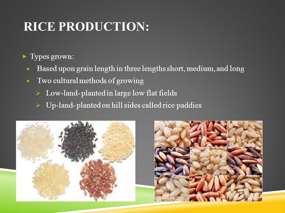 Rice Production: Types grown: