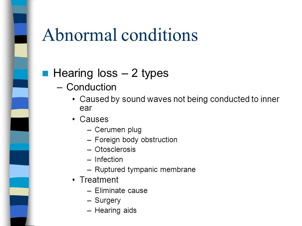 the causes and types of hearing loss conditions These are the main types of hearing loss and their causes  one condition that  affects older individuals and causes conductive hearing loss is paget's disease.