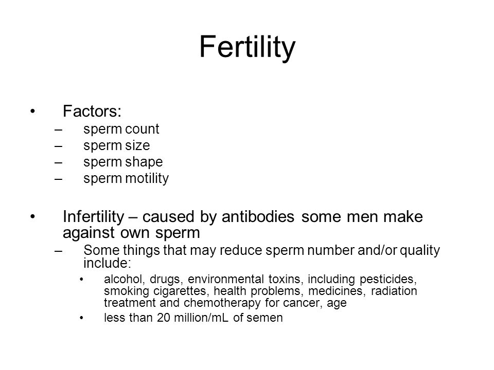 Affect drugs sperm that
