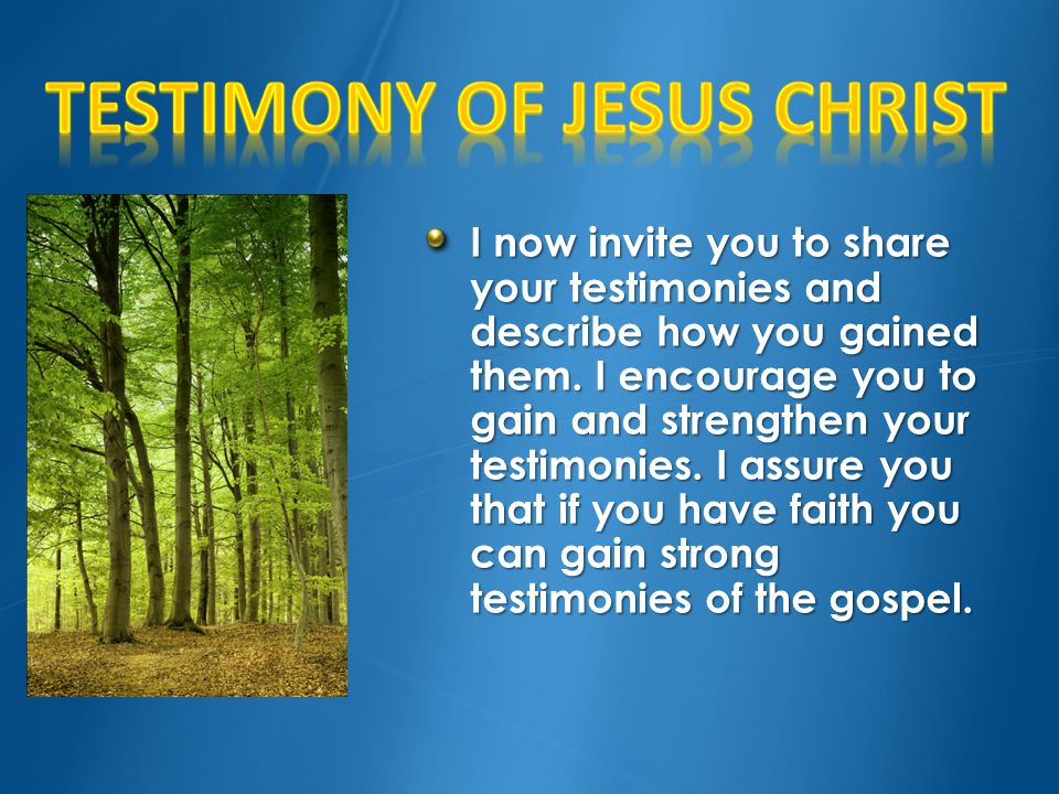 Testimony of Jesus Christ