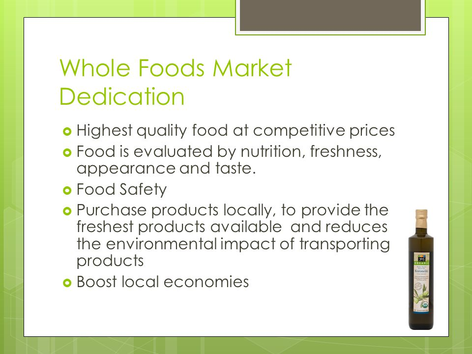 Whole Foods Market, Marketing Strategies and Programs Analysis