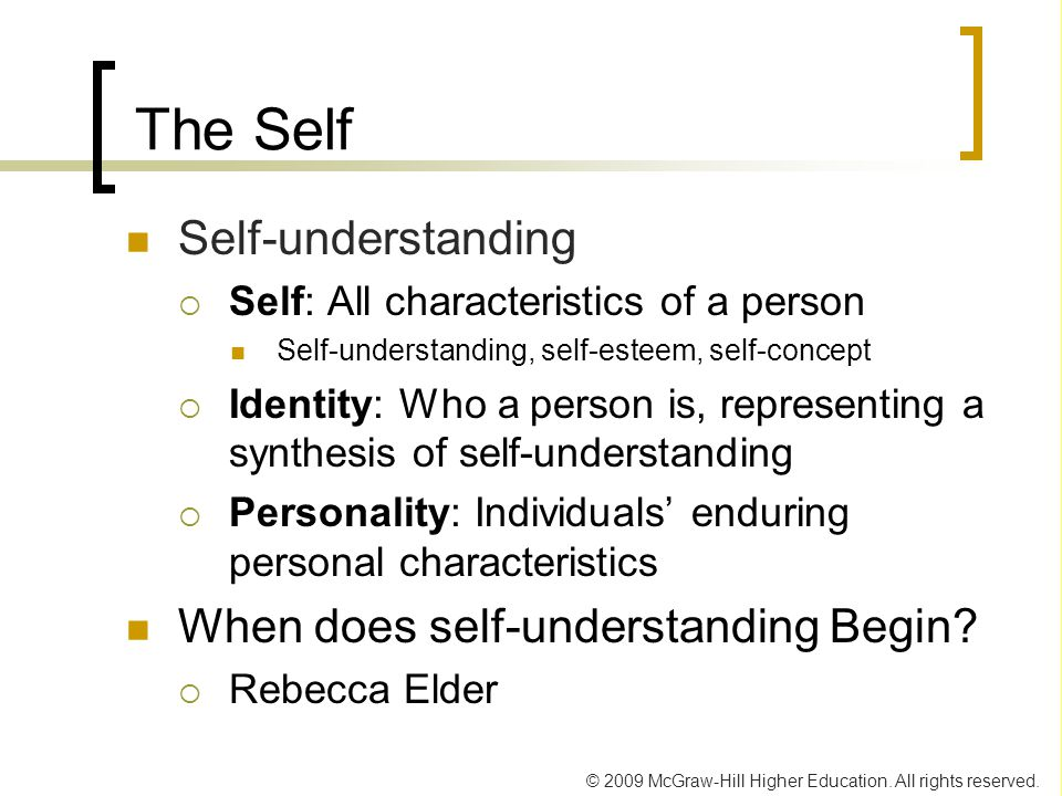 understanding my self concept Understanding the customer  personality and self concept personality personality defined is 'the complex of all the attributes--behavioral .