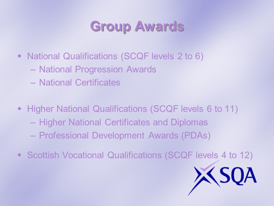 Group Awards National Qualifications (SCQF levels 2 to 6)