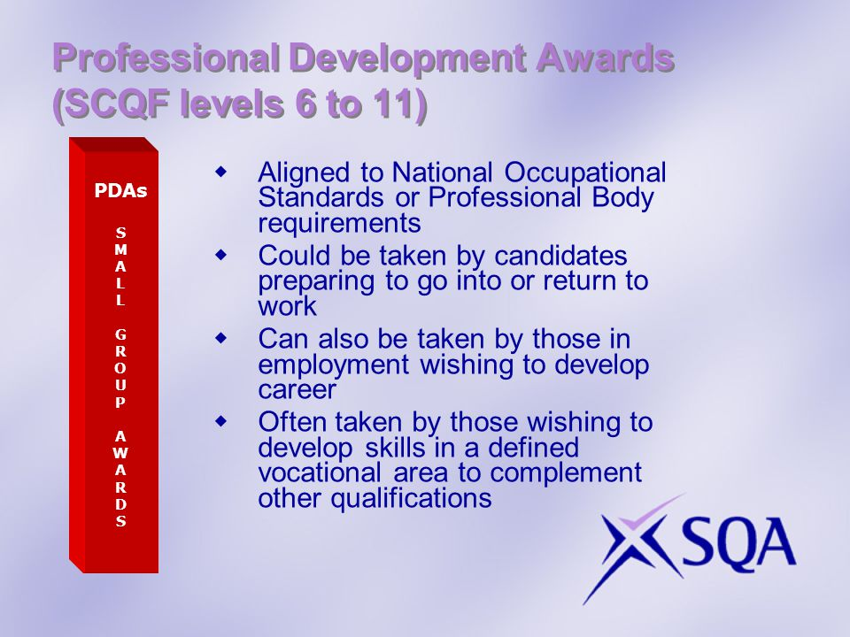 Professional Development Awards (SCQF levels 6 to 11)
