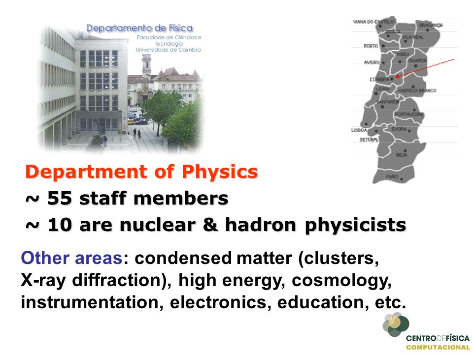 Department of Physics~ 55 staff members. ~ 10 are nuclear & hadron physicists. Other areas: condensed matter (clusters,
