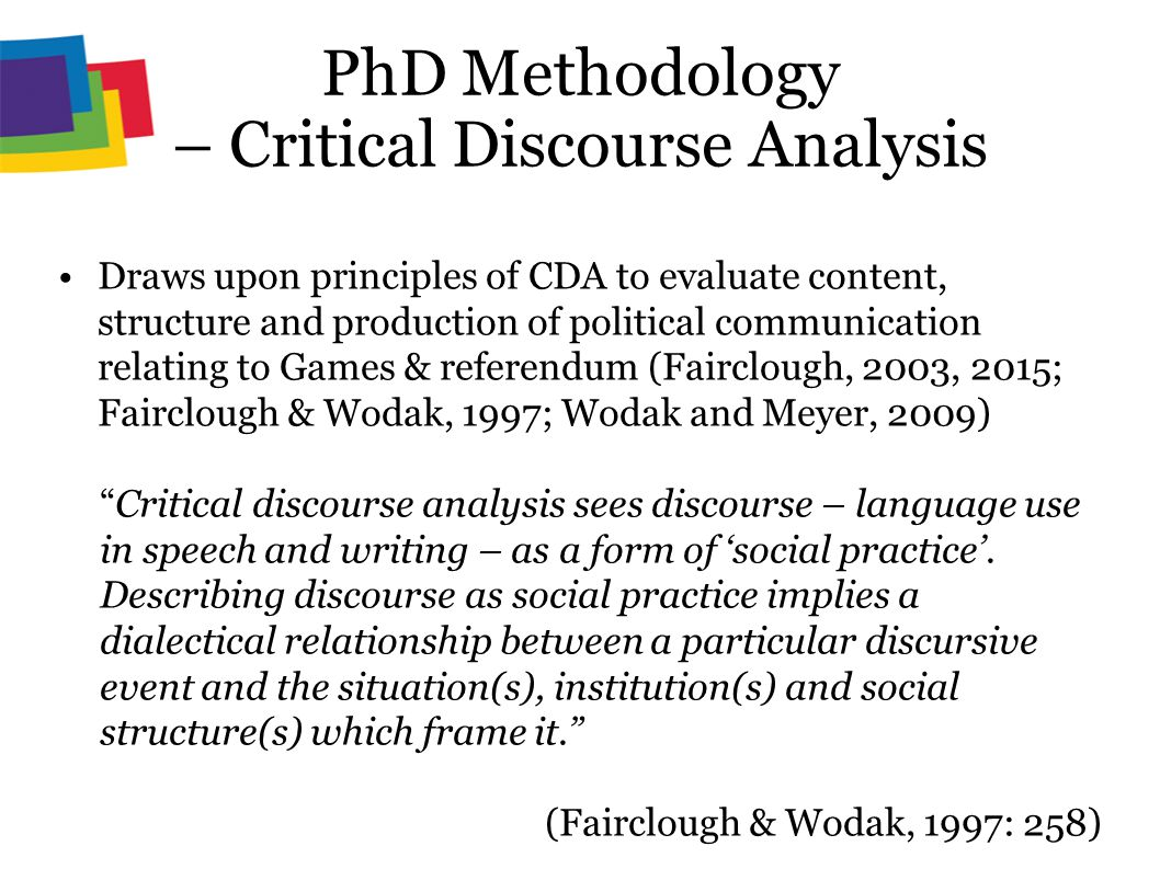 critical discourse analysis Methods of critical discourse analysis provides a concise, comprehensible and thoroughly up-to-date introduction to cda, appropriate for.