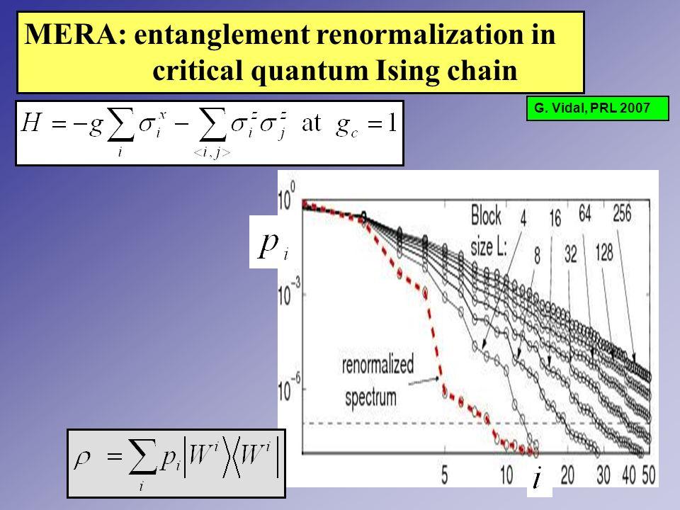 MERA: entanglement renormalization in critical quantum Ising chain