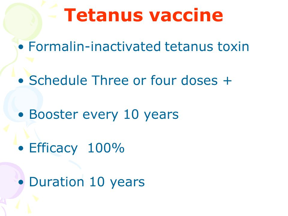 Tetanus vaccine Formalin-inactivated tetanus toxin