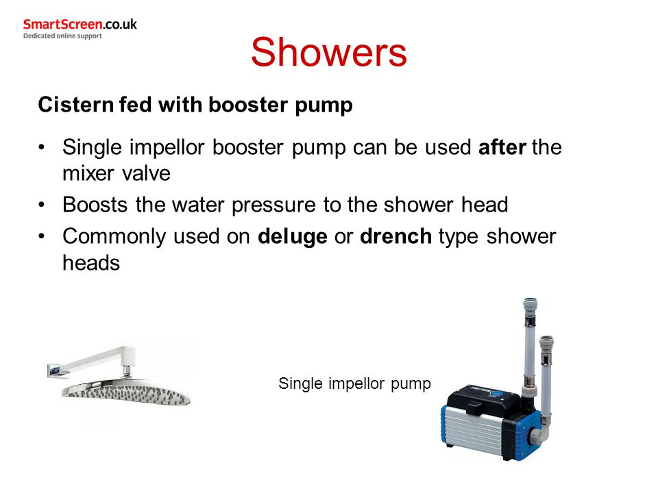 Showers Cistern fed with booster pump