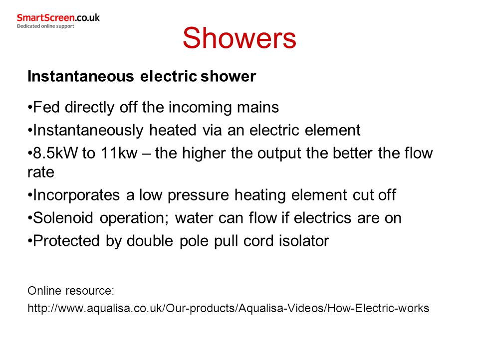 Showers Instantaneous electric shower