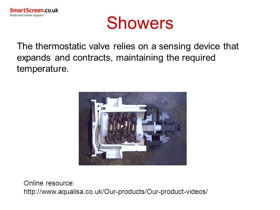 Showers The thermostatic valve relies on a sensing device that expands and contracts, maintaining the required temperature.