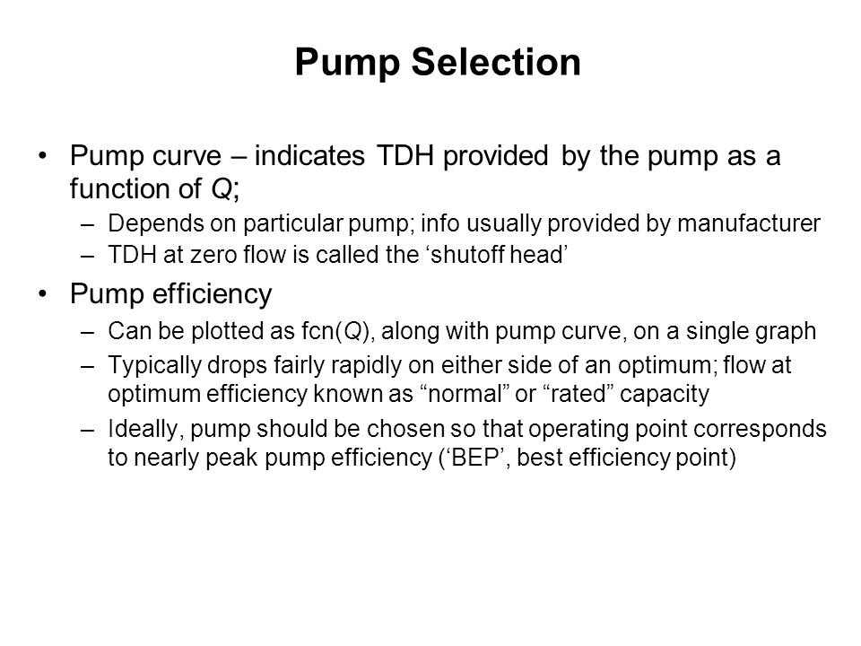 21 pump selection