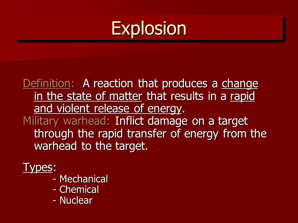 2 Explosion Definition: ...