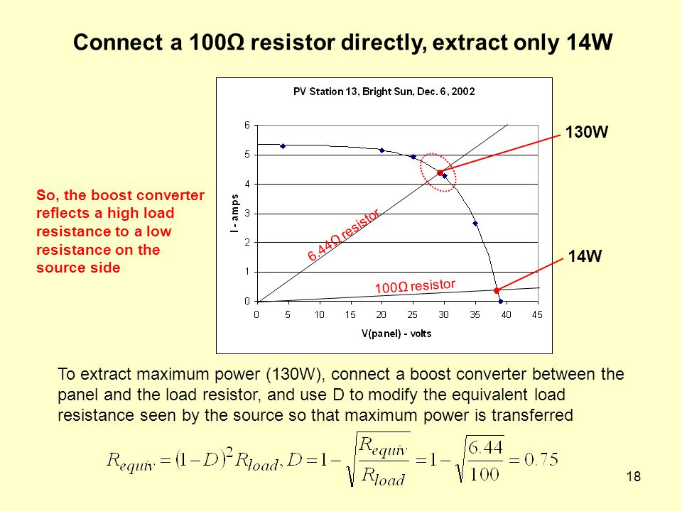 Connect a 100Ω resistor directly, extract only 14W