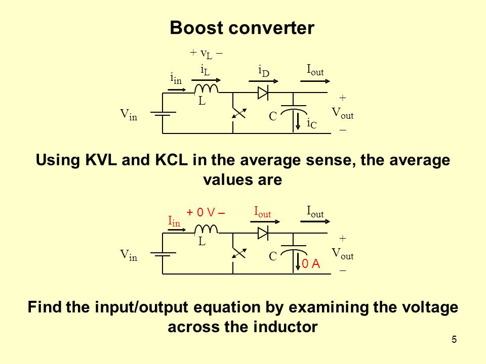 Using KVL and KCL in the average sense, the average values are