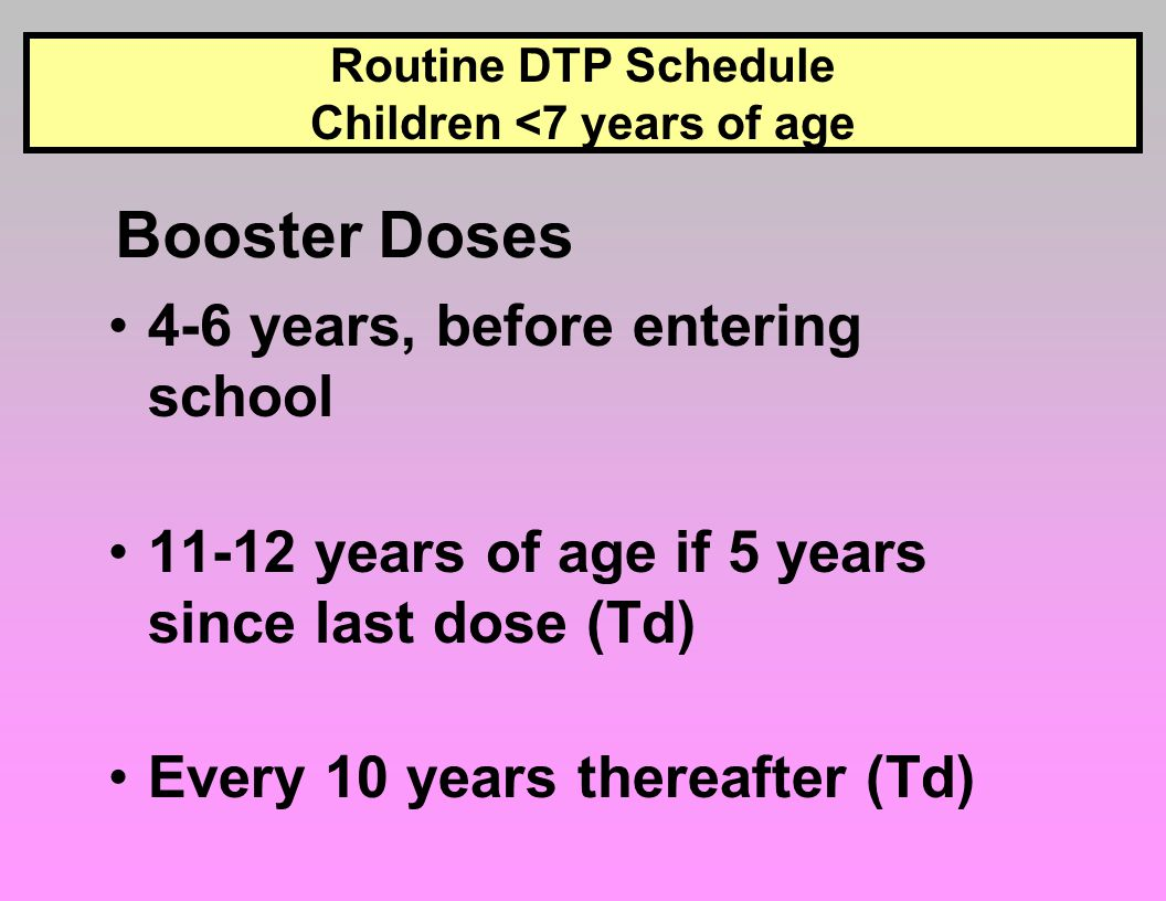 Routine DTP Schedule Children <7 years of age