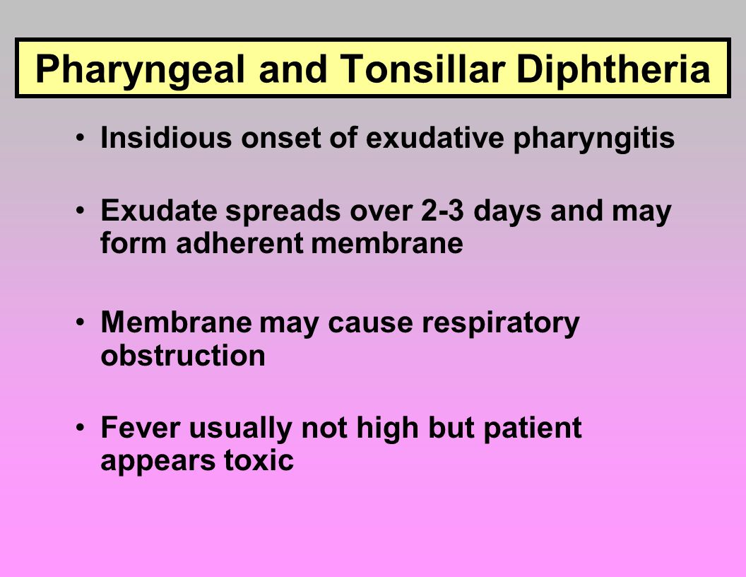 Pharyngeal and Tonsillar Diphtheria
